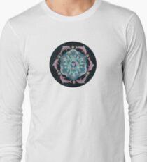 Pink Dolphin Flower of Life Mandala Long Sleeve T-Shirt