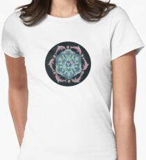 Pink Dolphin Flower of Life Mandala Women's Fitted T-Shirt