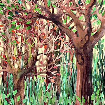 Lost in the Forest - watercolor painting collage von micklyn