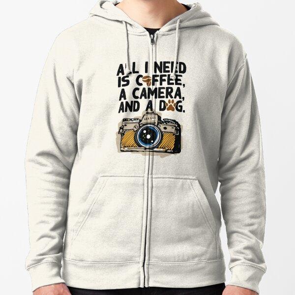 Camera Photography Coffee Dog Lovers Funny Shirt Gift Shirt Zipped Hoodie