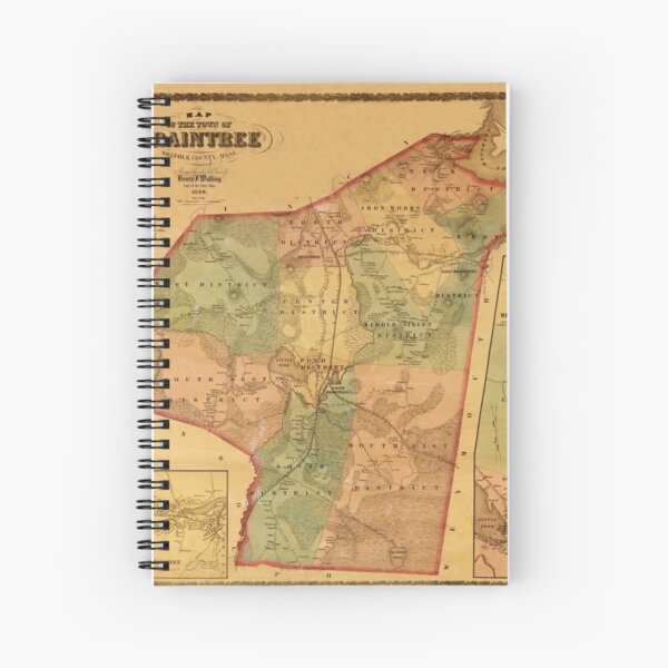 Map Of Braintree 1856 Spiral Notebook