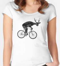 Deer & Bicycle Women's Fitted Scoop T-Shirt