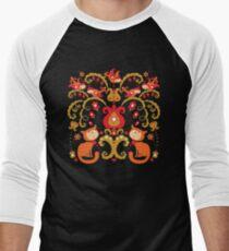 Rissian Kitties and Birds Love Tree. Men's Baseball ¾ T-Shirt