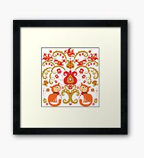 Rissian Kitties and Birds Love Tree. Framed Print
