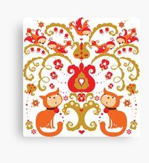 Rissian Kitties and Birds Love Tree. Canvas Print