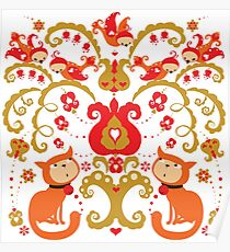 Rissian Kitties and Birds Love Tree. Poster