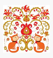 Rissian Kitties and Birds Love Tree. Photographic Print