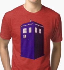 Tardis - Hand Drawn and Colored Tri-blend T-Shirt