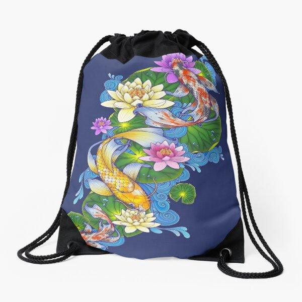 Lotus Koi Pond Drawstring Bag