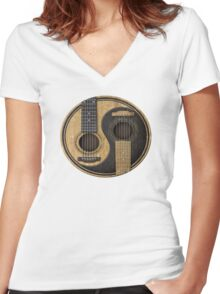Acoustic Guitars Yin Yang Women's Fitted V-Neck T-Shirt