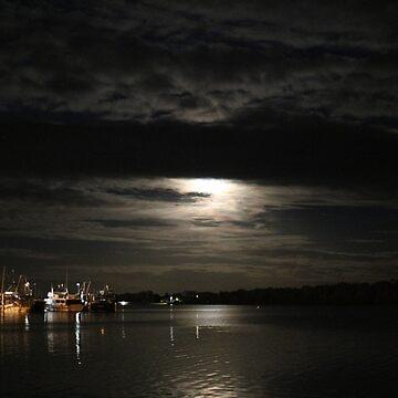 Mystical moonlit lake by HauntedHills