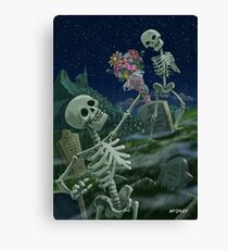 Romantic Valentine Skeletons in Graveyard Canvas Print