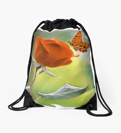 The Flower and the Butterfly Drawstring Bag