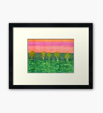 Trees, Green and Evening Sky Framed Print