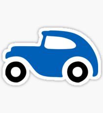 Blue 1930's Sedan Car Icon Sticker