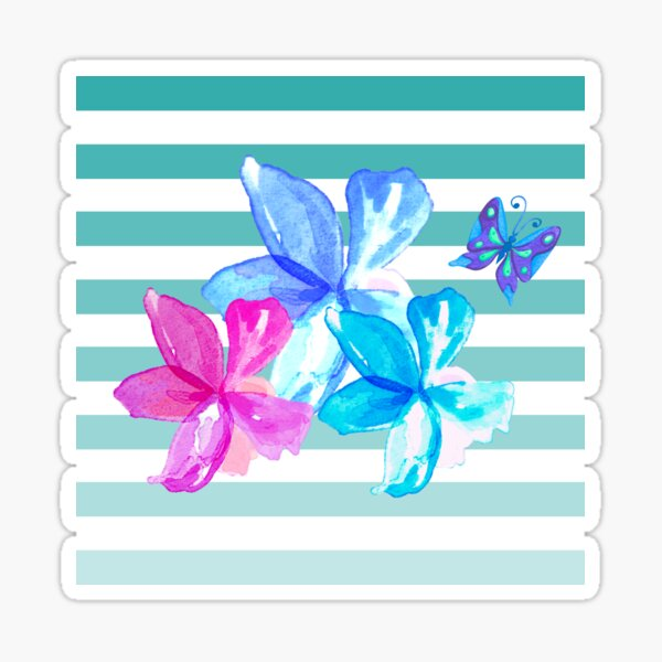Green and White Stripes Floral Sticker