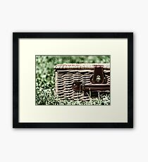 Picnic Basket Hamper With Leather Handle In Green Grass Framed Print