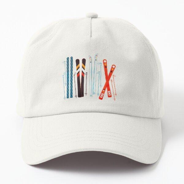 Colorful Retro Ski Illustration Dad Hat