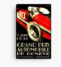 """GENEVA GRAND PRIX"" Vintage Auto Racing Print Canvas Print"