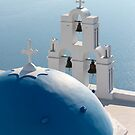 Blue Dome and Belfry of Santorini Church by Petr Svarc