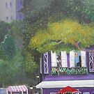Colorful Purple cafe acrylic painting by Melissa Renee