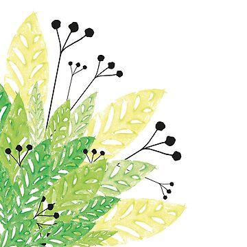 Stamp Leaves Green by fraueisvogel
