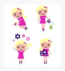 Little gardener Girl. Vector cartoon girls. Photographic Print