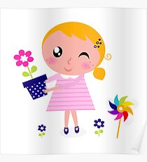 Little cute child holding pink flower - authors illustration Poster