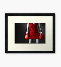 Woman in sexy red dress wearing boxing gloves art photo print Framed Print
