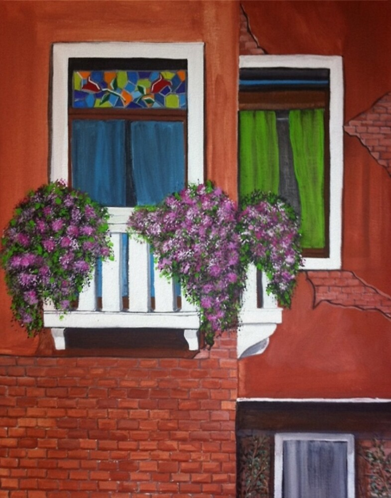 Colorful windows of Venice Acrylic Painting by Melissa Goza