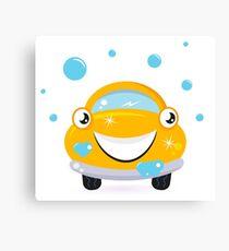 Car wash services, yellow cartoon auto / yellow taxi Canvas Print