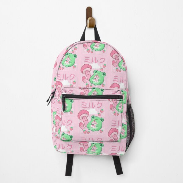 Cute Cottagecore Frog Strawberry Retro 90s Kawaii Aesthetic Y2K Backpack