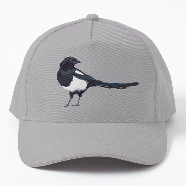 Black-billed magpie - charcoal drawing Baseball Cap