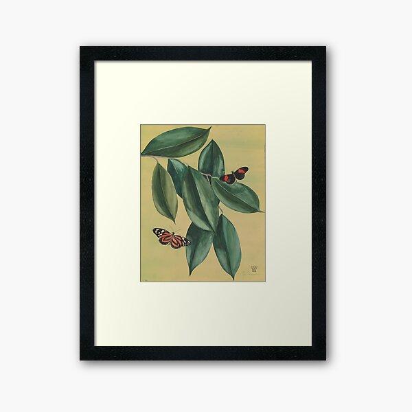 Butterflies and Leaves Framed Art Print