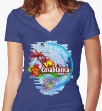 Casablanca Morocco Women's Fitted V-Neck T-Shirt