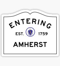 Entering Amherst - Commonwealth of Massachusetts Road Sign Sticker