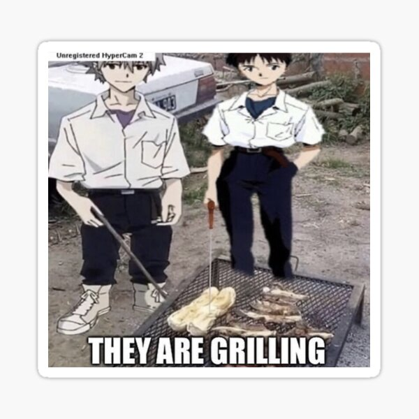 they are grilling Sticker