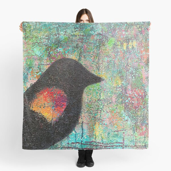 Red-winged Blackbird Silhouette Scarf