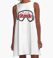 Reflected Mountains in Ski Goggles A-Line Dress