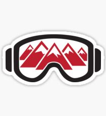 Reflected Mountains in Ski Goggles Sticker