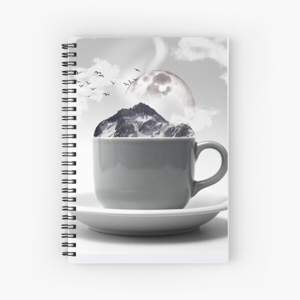 Moon and mountain in a Cup Spiral Notebook