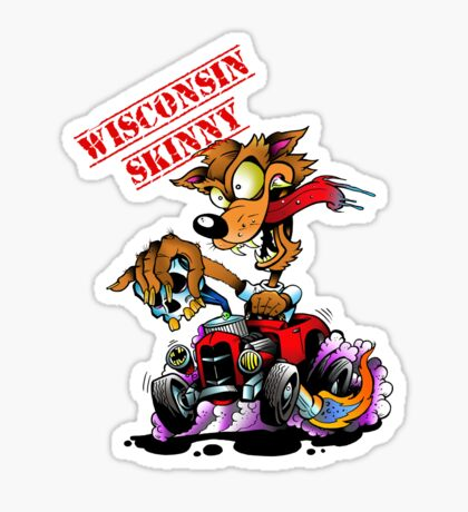 Wisconsin Skinny Hotrod Wolf Sticker