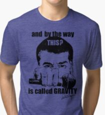 Science Mic Drop (light background) Tri-blend T-Shirt