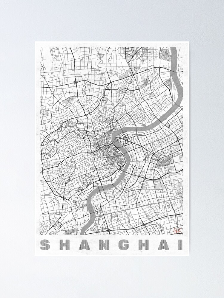 Alternate view of Shanghai Map Line Poster