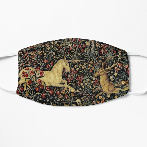 Medieval Unicorn Midnight Floral Tapestry Flat Mask