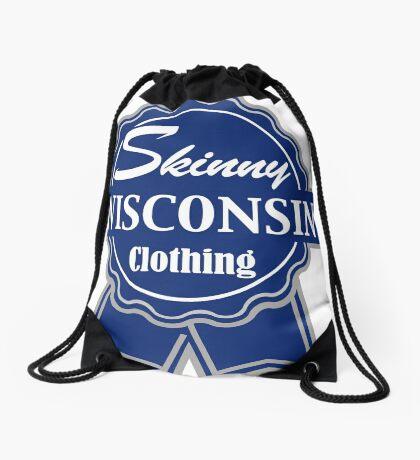 Wisconsin Skinny Blue Badge of Honor Drawstring Bag