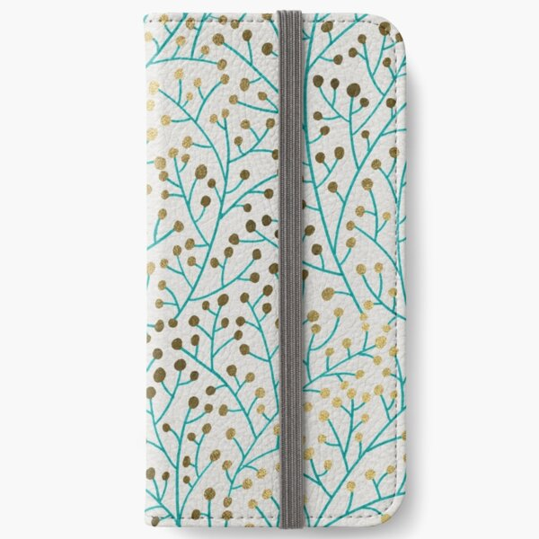 Turquoise & Gold Berry Branches iPhone Wallet