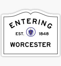 Entering Worcester - Commonwealth of Massachusetts Road Sign Sticker