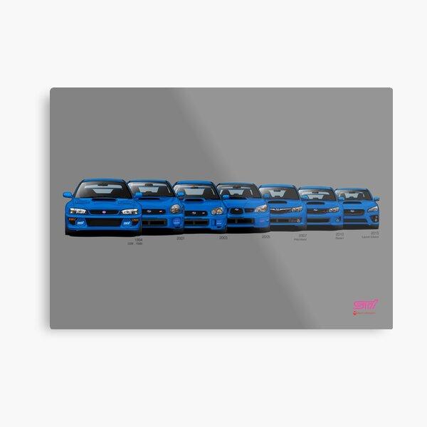 Generaciones de Subaru WRX STi - Poster V2 Lámina metálica
