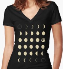 Moon Phases Women's Fitted V-Neck T-Shirt